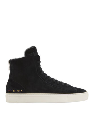 Shearling Suede High-Top Sneakers, BLACK, hi-res