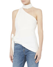 Leah One Shoulder Choker Blouse, IVORY, hi-res