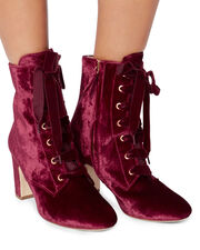 Ally Lace-Up Red Velvet Booties, RED, hi-res