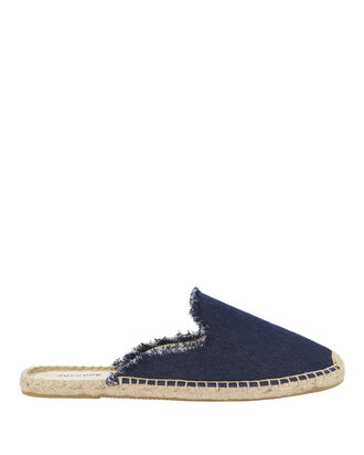 Denim Fringe Espadrille Slides, DENIM, hi-res