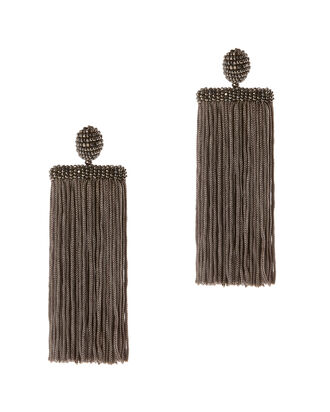 Waterfall Fringe Earrings, GREY, hi-res