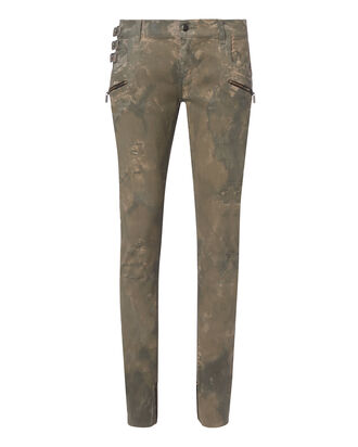 Military Distressed Skinny Pants, BLACK, hi-res