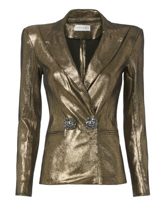 Gold Strong Shoulder Blazer, METALLIC, hi-res