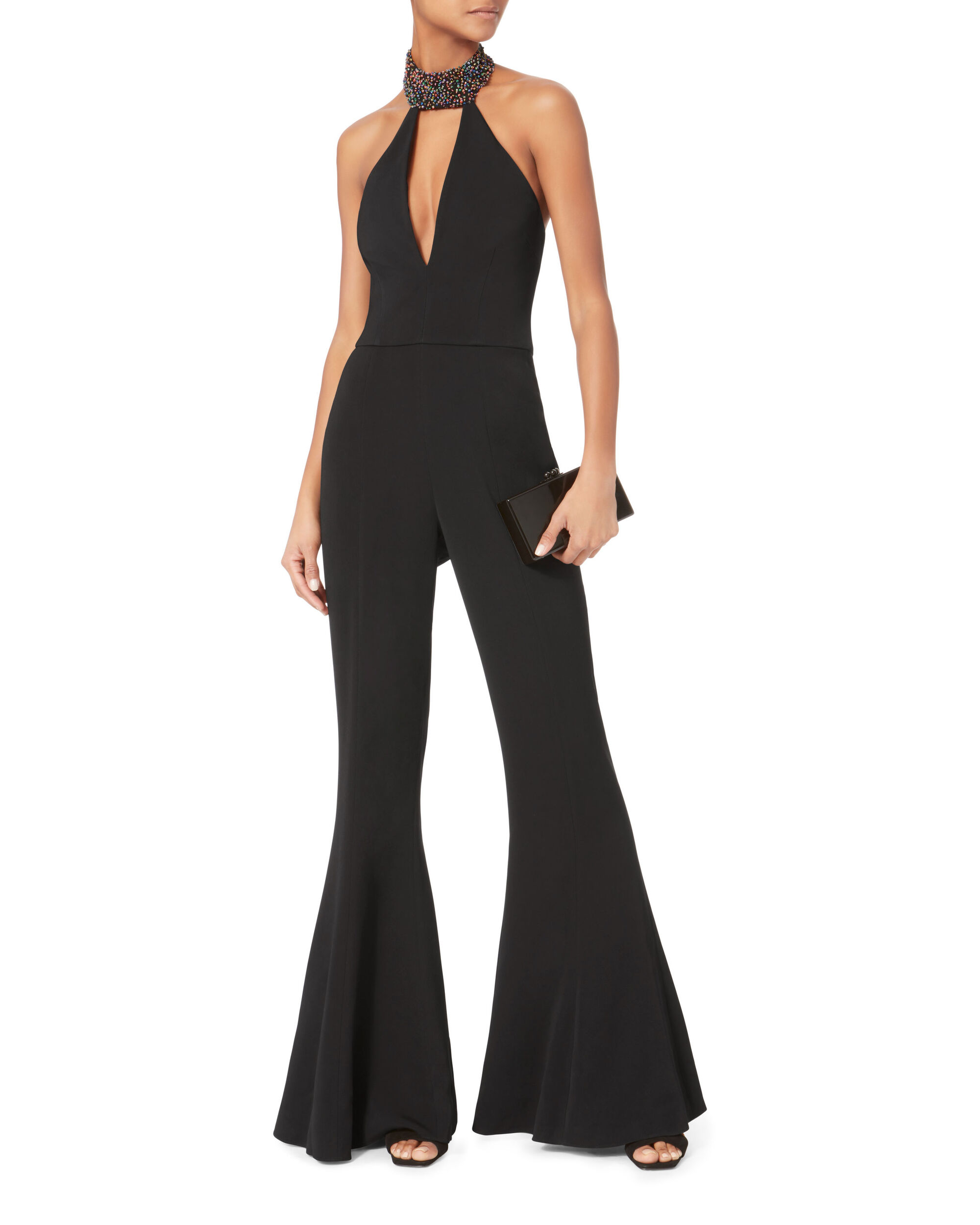 Embellished Halter Flared Jumpsuit, BLACK, hi-res