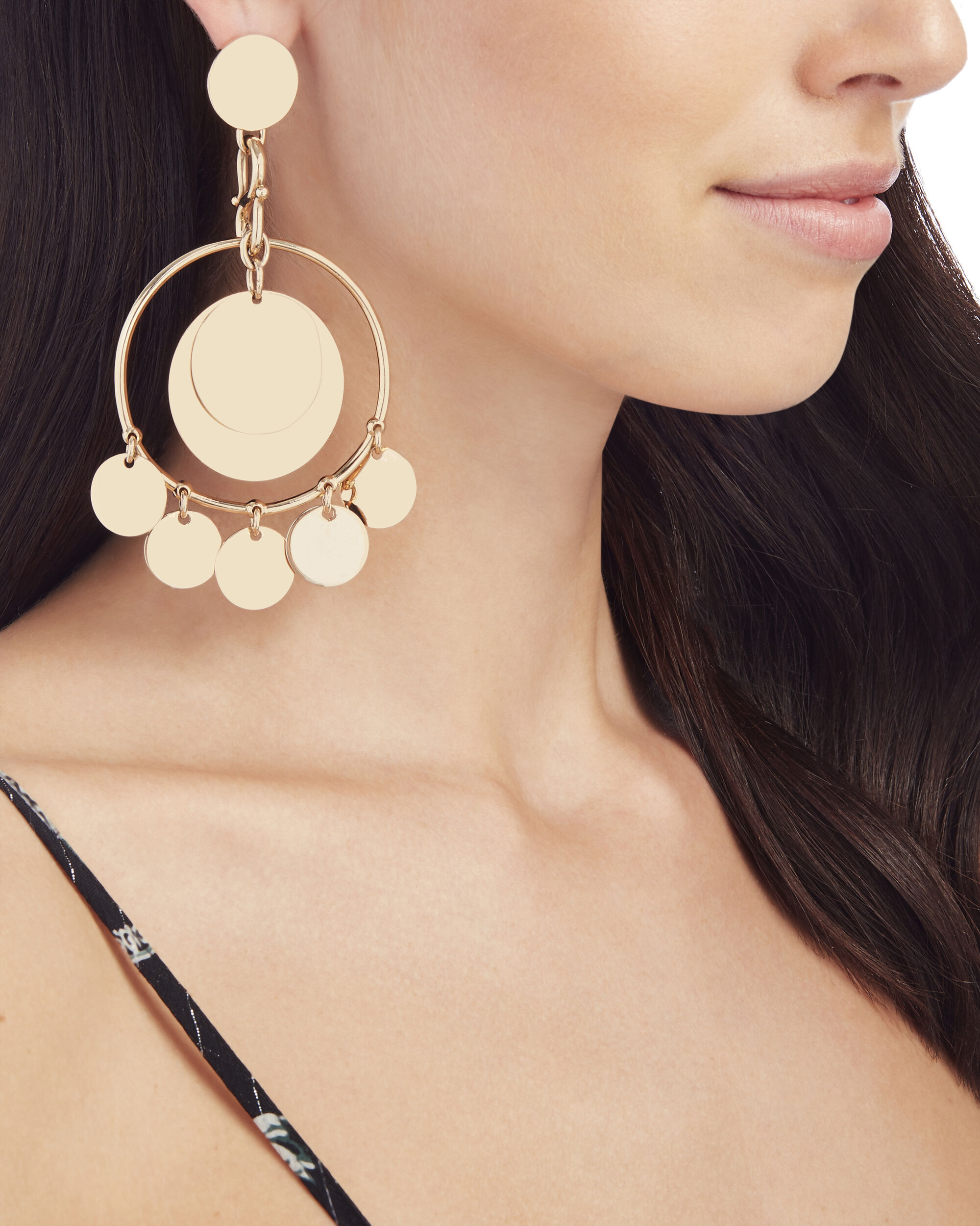 Coin Disc Statement Earrings, METALLIC, hi-res