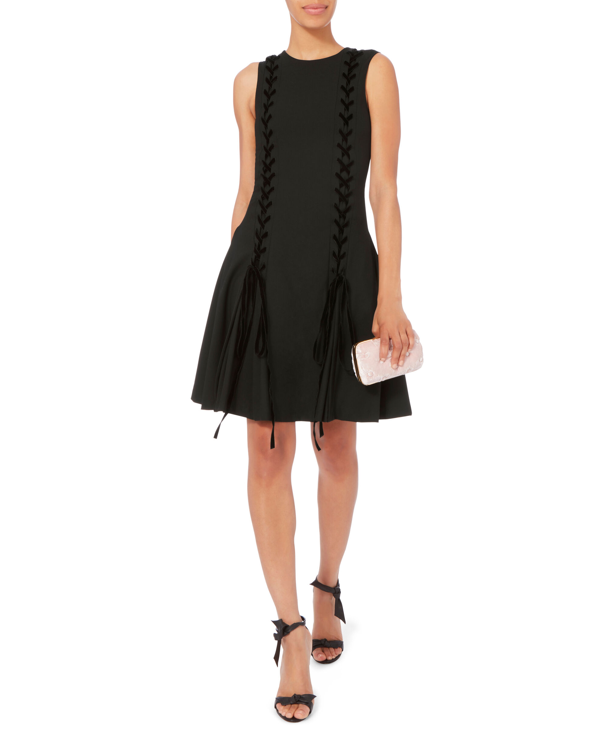 Lace Front Fit-And-Flare Dress, BLACK, hi-res