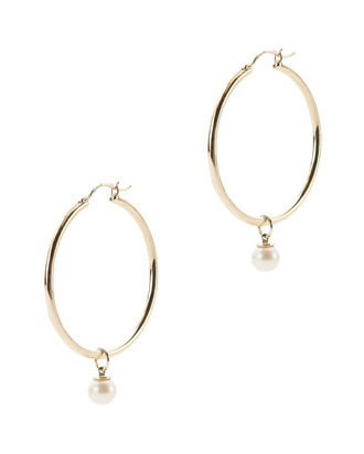 Pearl Charm Detachable Gold Hoops, GOLD, hi-res