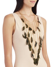 Selva Long Feather Necklace, METALLIC, hi-res
