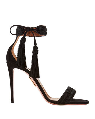 Shanty Tassel High Sandals, BLACK, hi-res