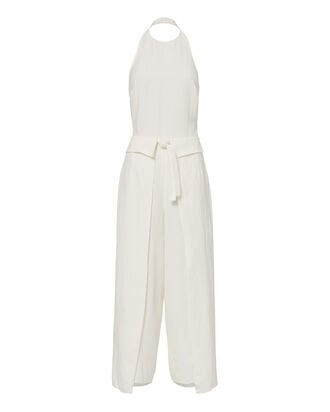 Tie Front Cropped Jumpsuit, WHITE, hi-res