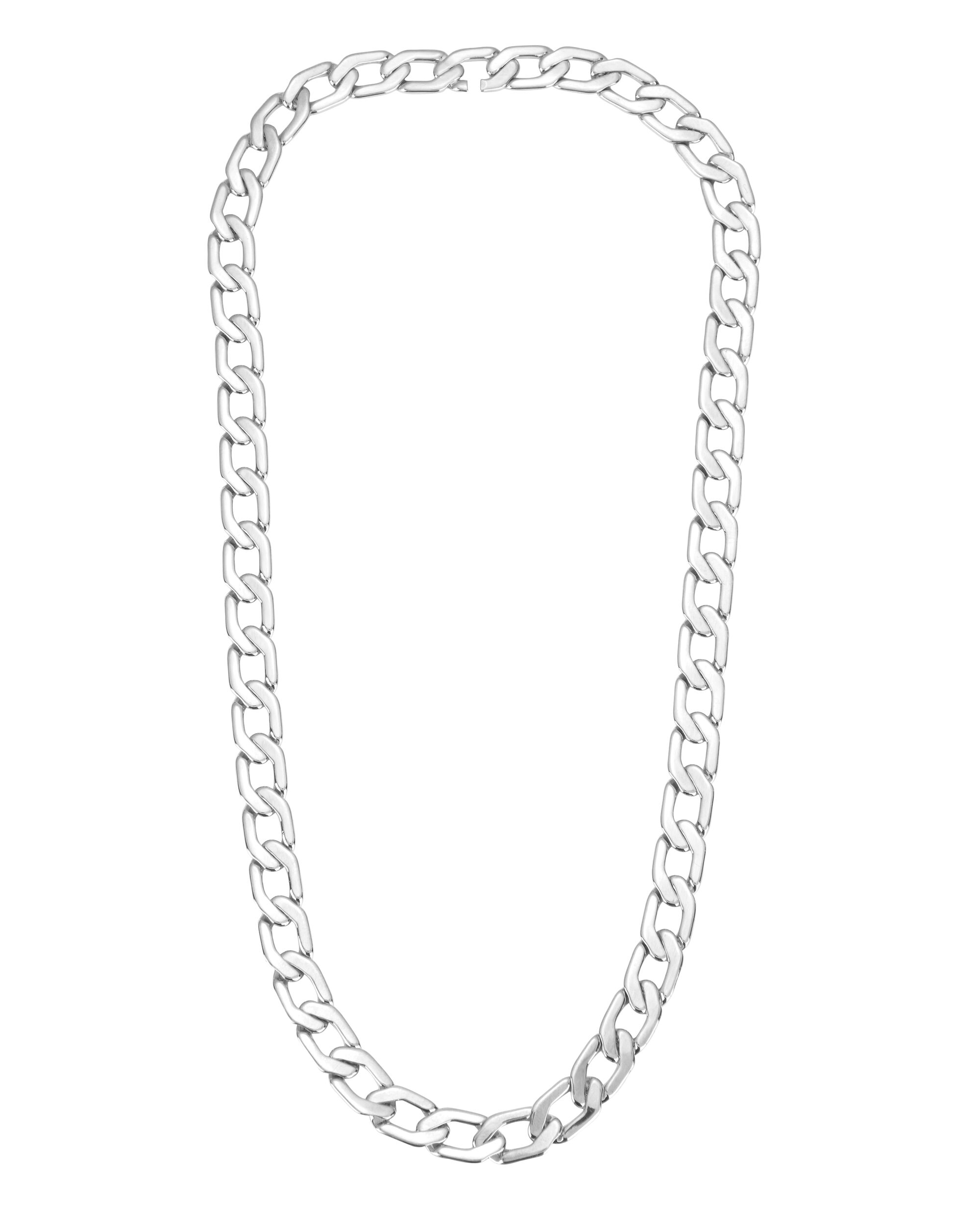 Milos Mini Silver Chain Link Necklace, METALLIC, hi-res