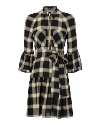 Plaid Raglan Bell Sleeve Shirtdress, BLACK, hi-res