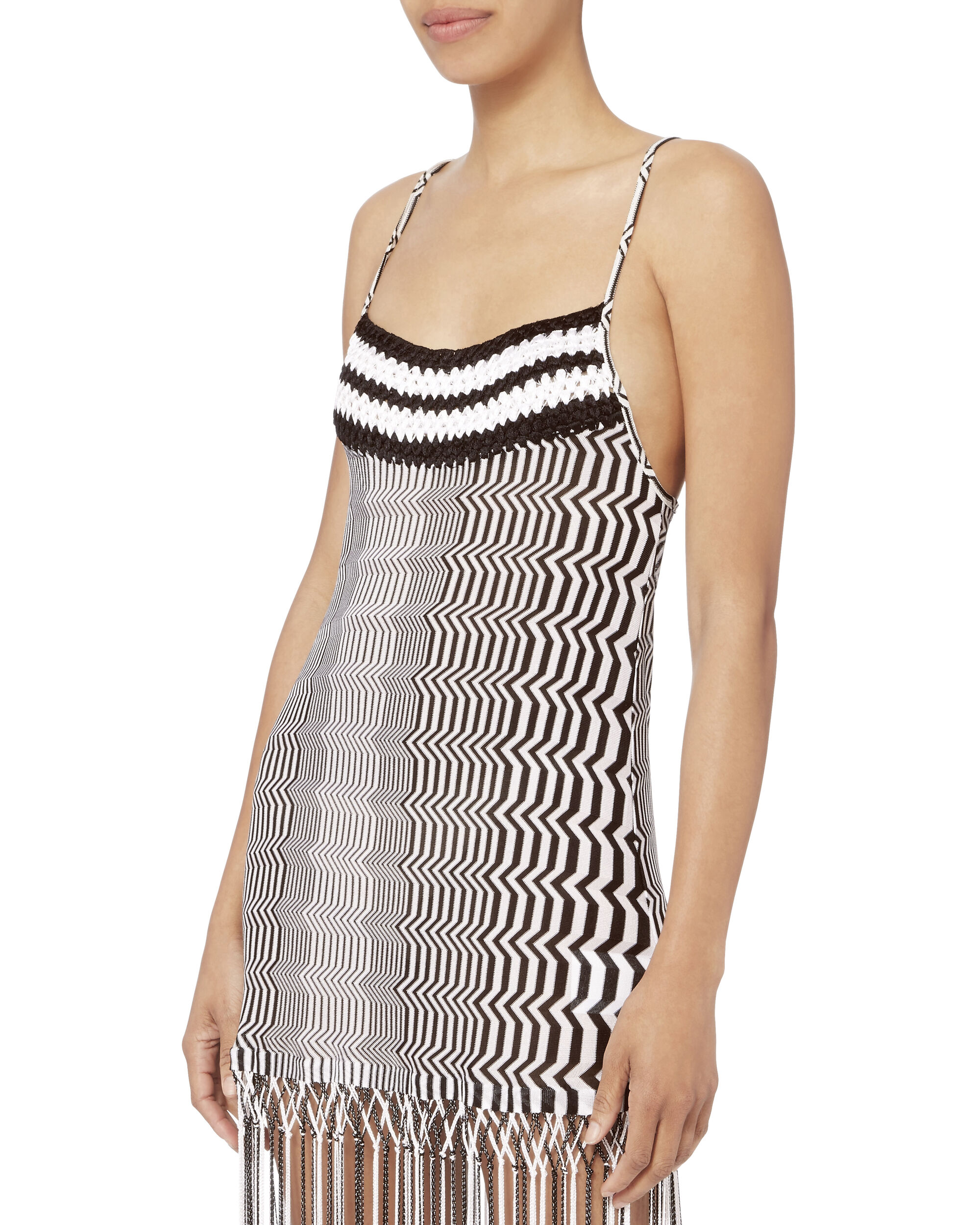 Black And White Zig Zag Fringe Mini Dress, BLACK/WHITE, hi-res