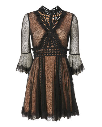 Crochet Neck Lace Mini Dress, BLACK, hi-res