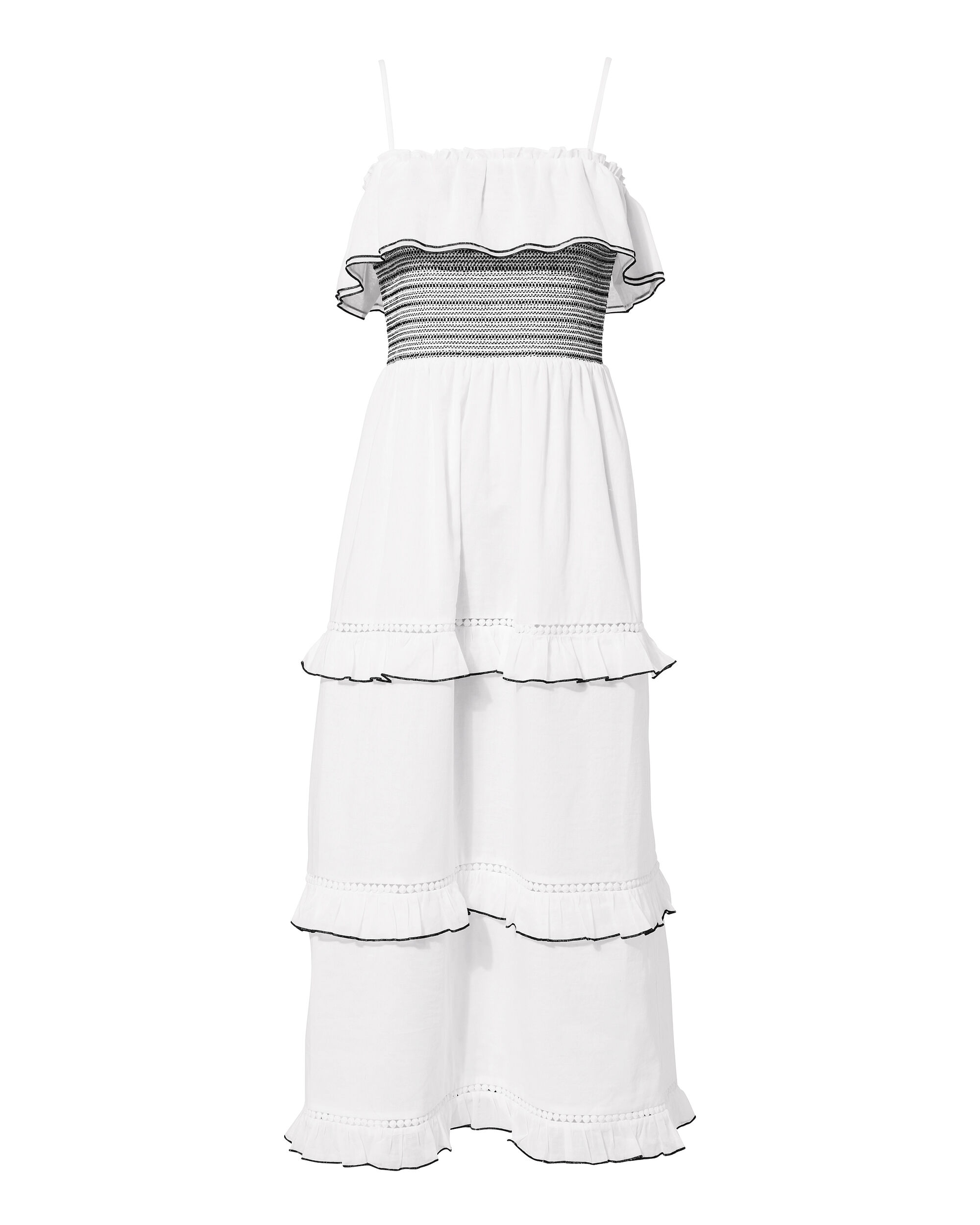 Tal Smocked Tiered Dress, BLK/WHT, hi-res