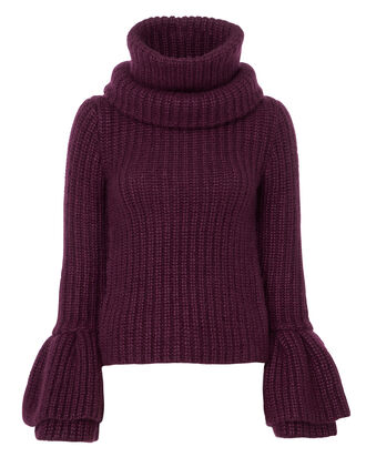 Oversized Bell Sleeve Sweater, RED-DRK, hi-res
