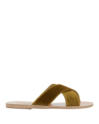 Thais Cross Strap Mustard Velvet Sandals, YELLOW, hi-res
