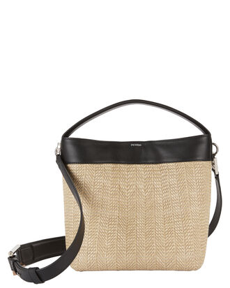 Le Mini Baggala Leather and Raffia Bag, BEIGE/KHAKI, hi-res