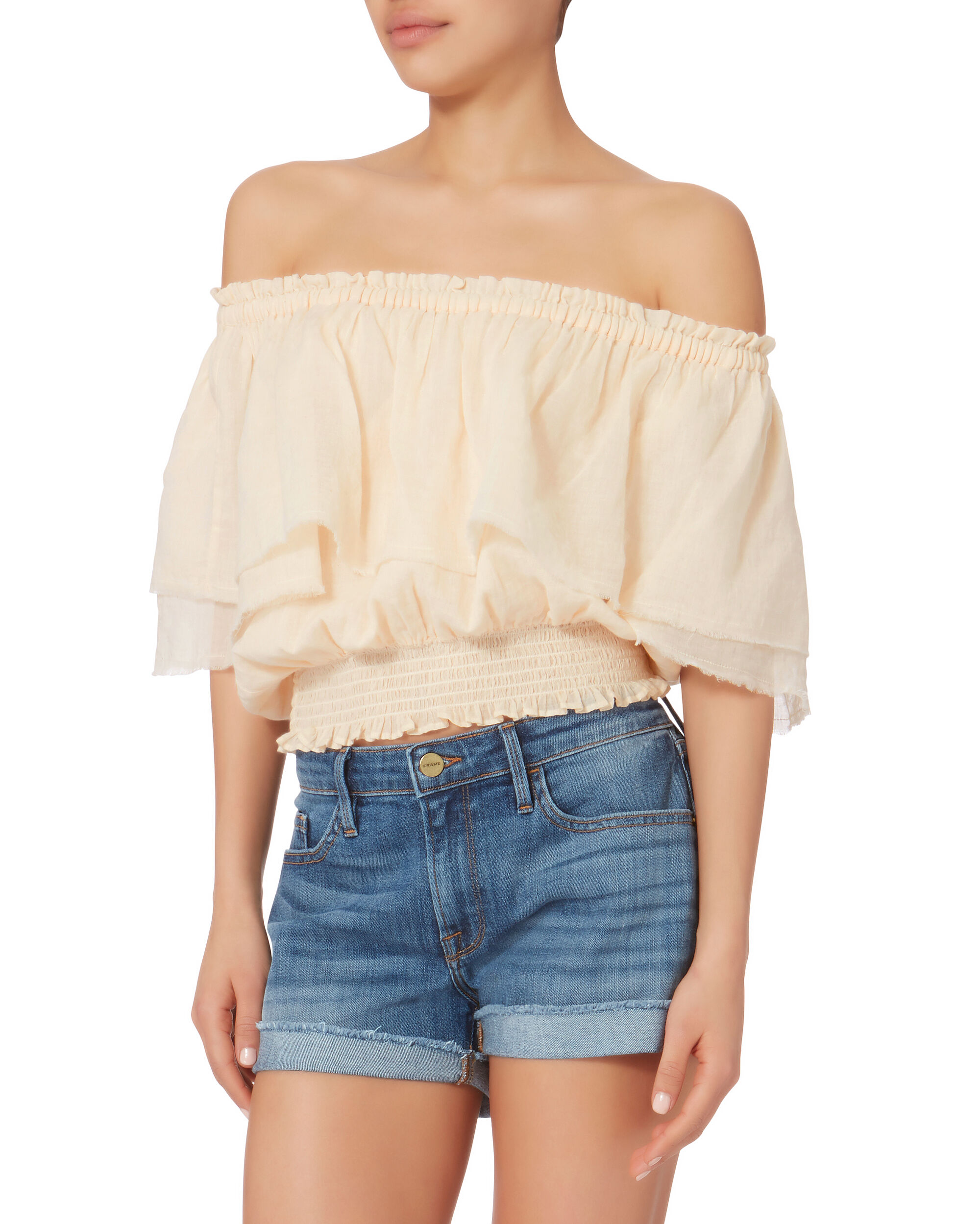Off Shoulder Crop Top, PINK, hi-res