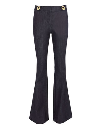 Grommet Detail Denim Flare Trousers, BLUE, hi-res