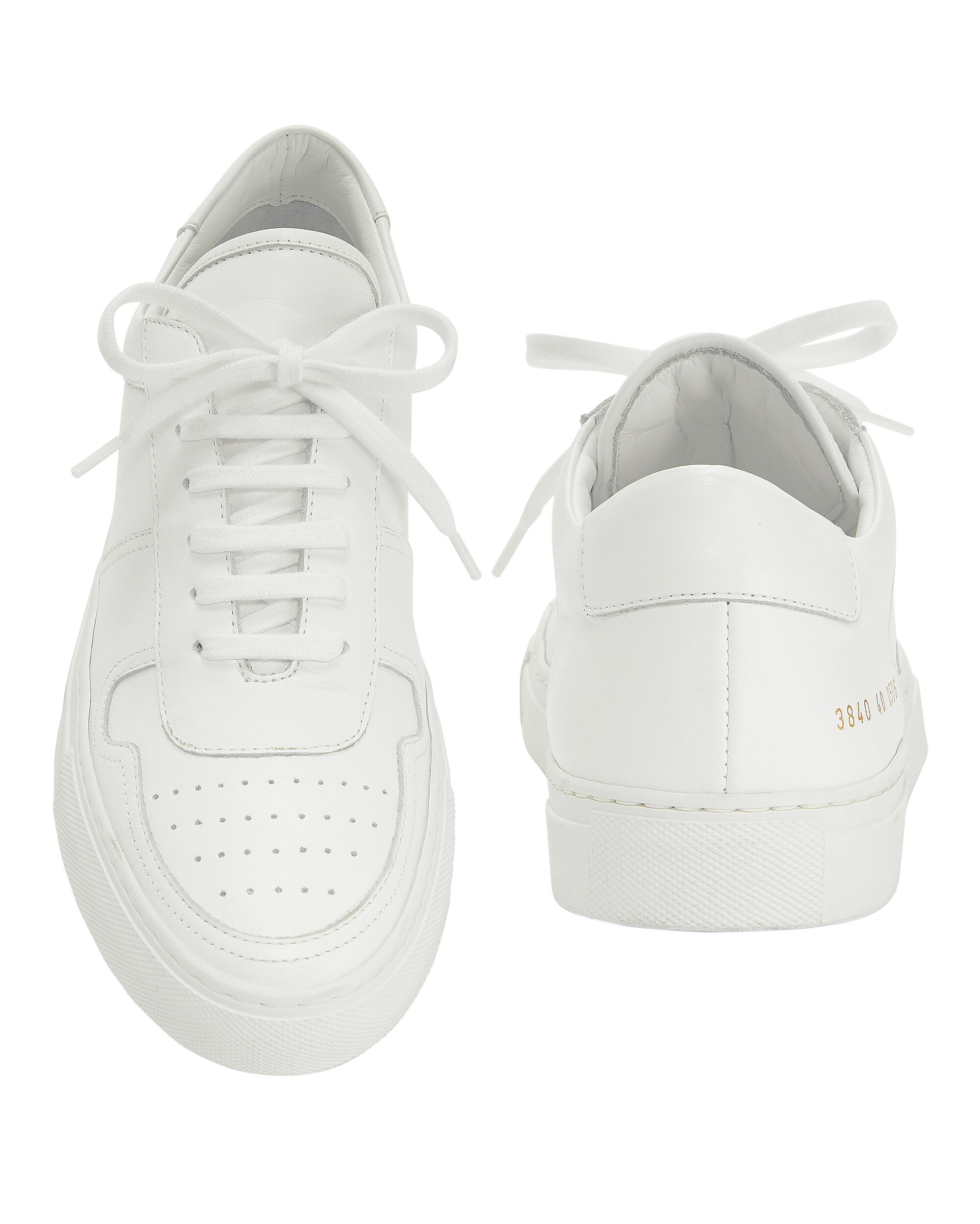 BBall Low Top Leather Sneakers, WHITE, hi-res
