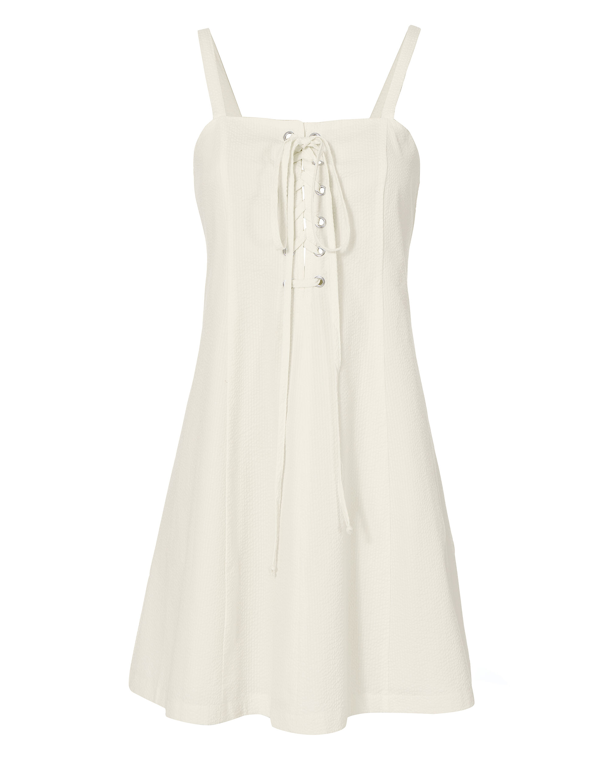 Catalina White Seersucker Lace-Up Mini Dress, WHITE, hi-res