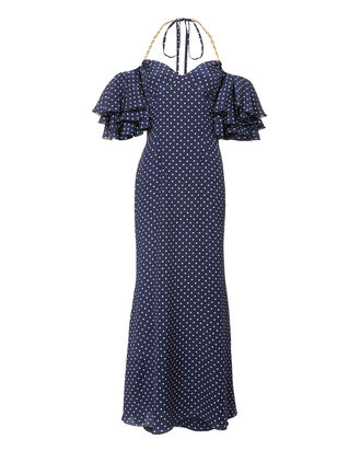 Off Shoulder Polka Dot Dress, NAVY, hi-res