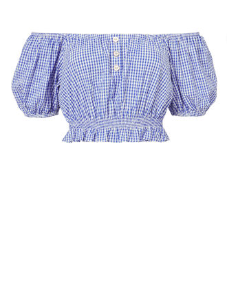 Bardot Crop Top, BLUE, hi-res