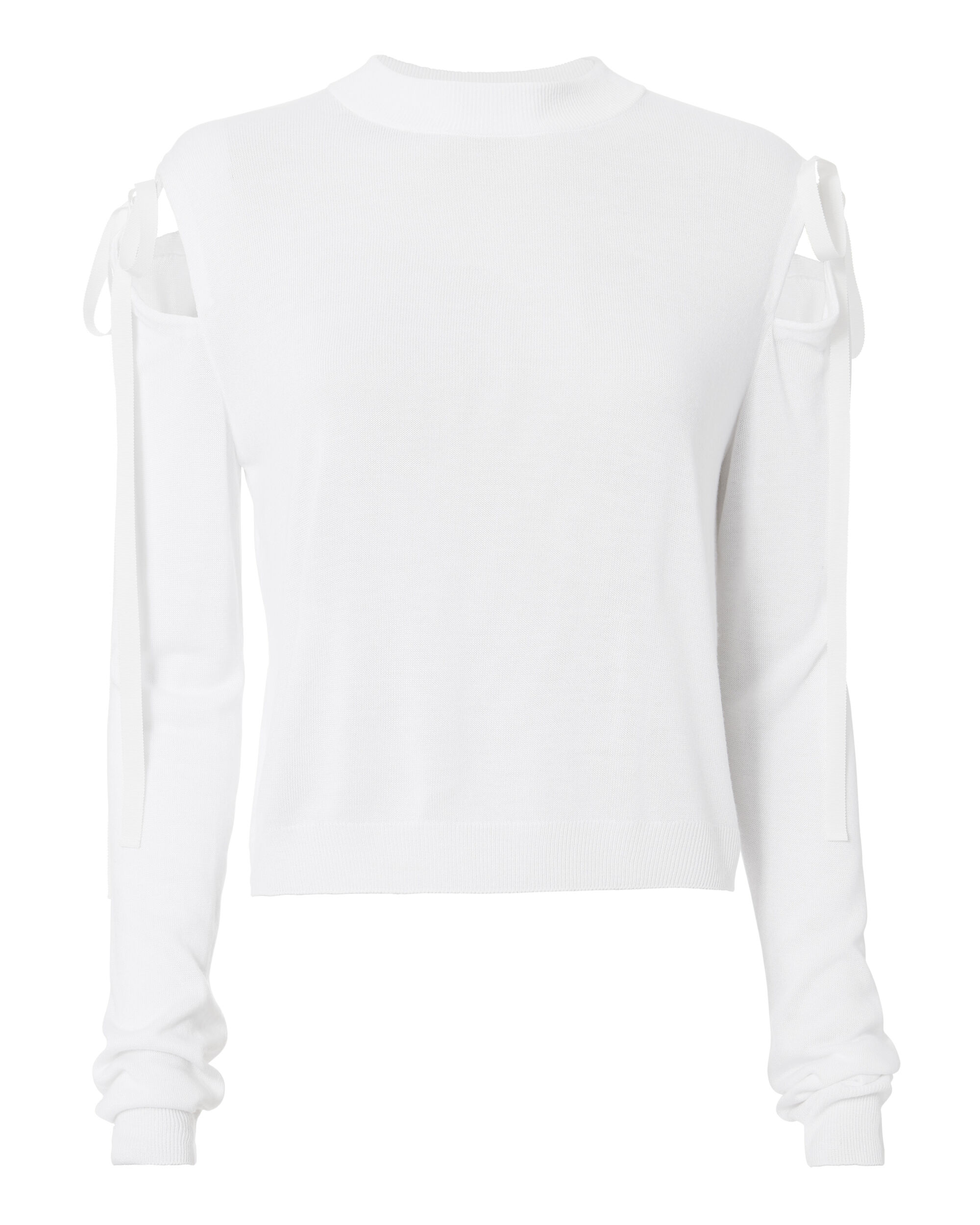Ribbon Tie Knit Top, WHITE, hi-res