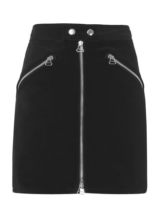 Racer Velvet Skirt, BLACK, hi-res