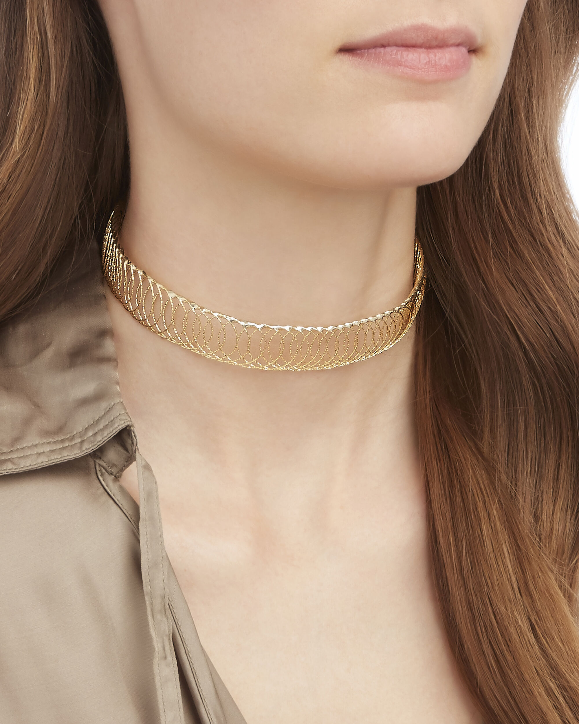 Cosmo Wire Cage Choker, GOLD, hi-res