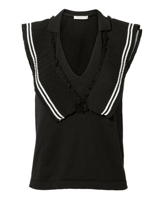 Micropleat V-Neck Sweater Tank, BLACK, hi-res