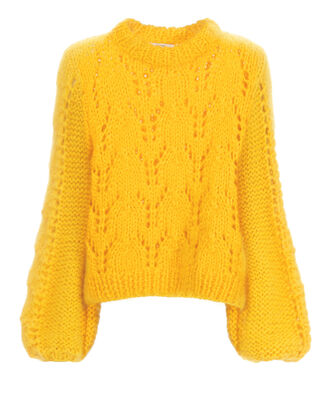 Julliard Mohair Chunky Sweater, YELLOW, hi-res