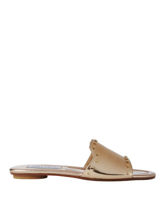 Nanda Studded Gold Slides, METALLIC, hi-res