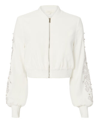 Crystal Embroidered Bomber Jacket, WHITE, hi-res
