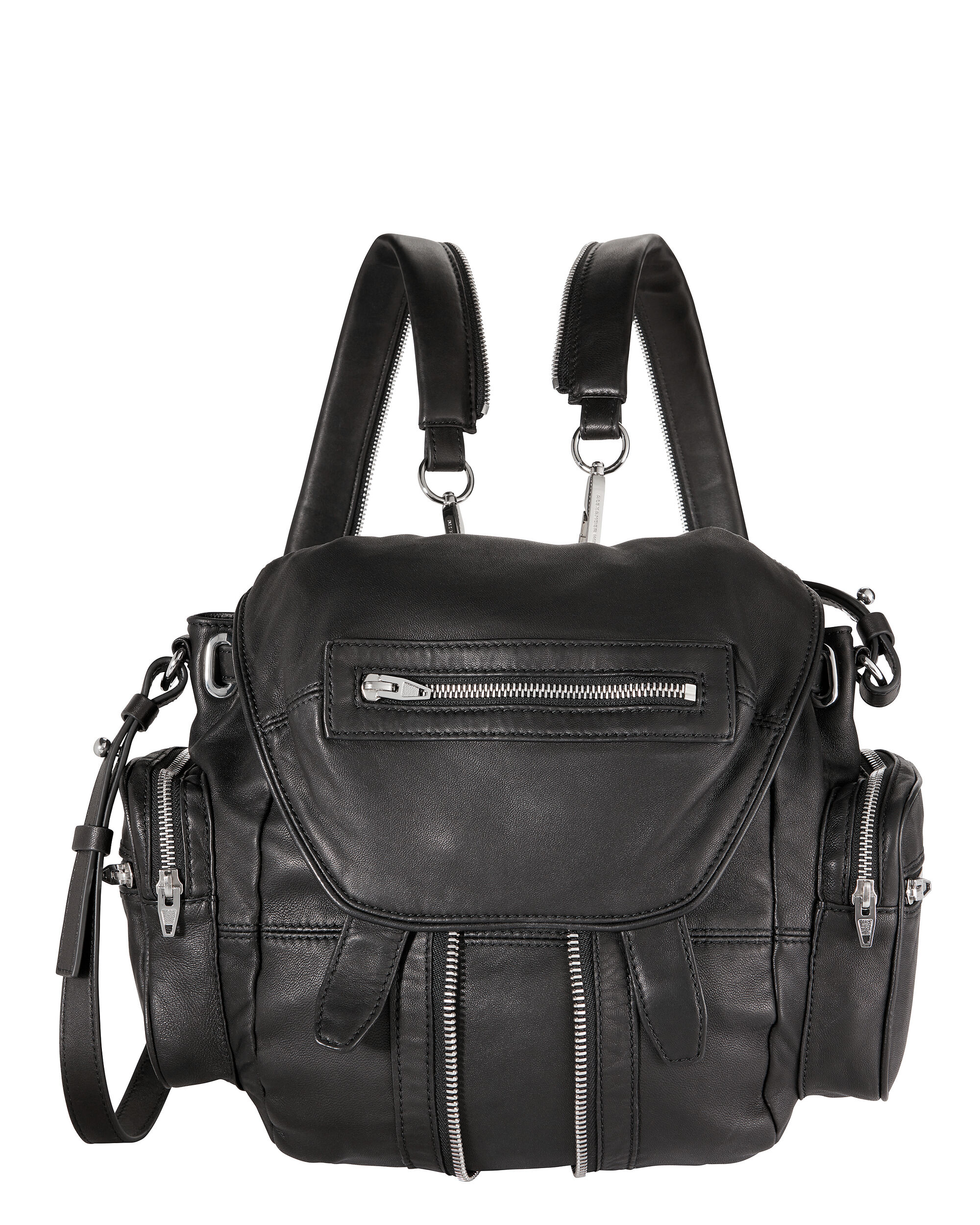 BLACK LEATHER MICRO MARTI BACKPACK