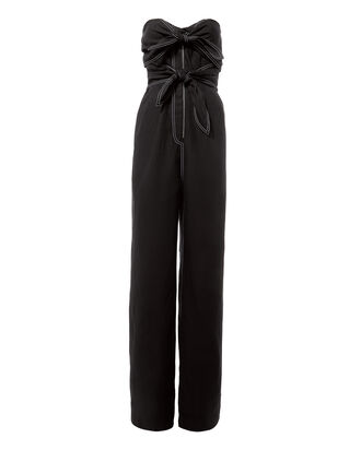 Knot Detail Strapless Jumpsuit, BLACK, hi-res