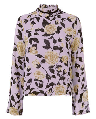 Carlton Georgette Floral Blouse, PURPLE, hi-res