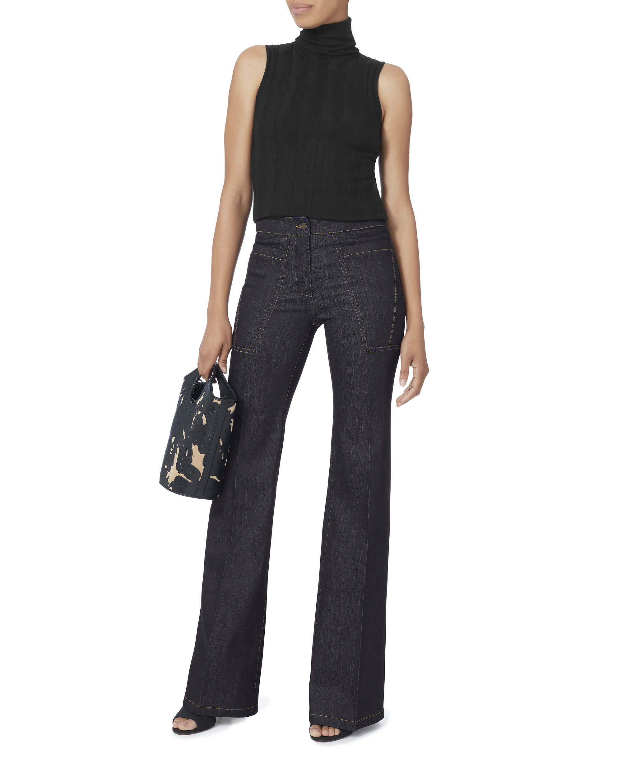 Charlotte Core High-Waisted Flare Jeans, DENIM, hi-res