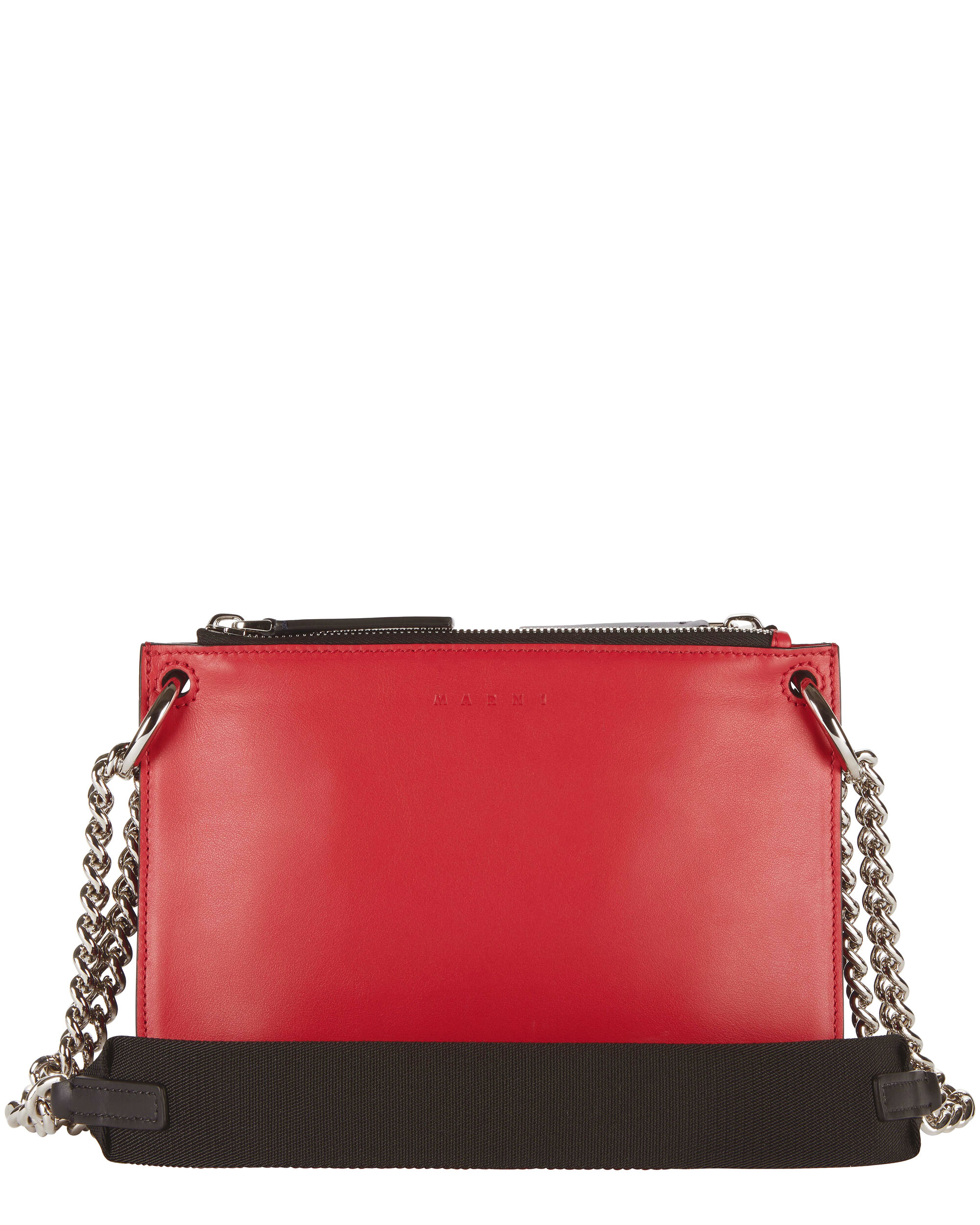 Bandoleer Chain Strap Double Clutch, NAVY, hi-res