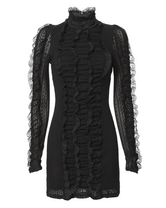 Ruffled Lace Mini Dress, BLACK, hi-res