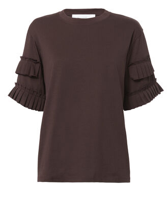 Pleat Sleeve Tee, RED-DRK, hi-res