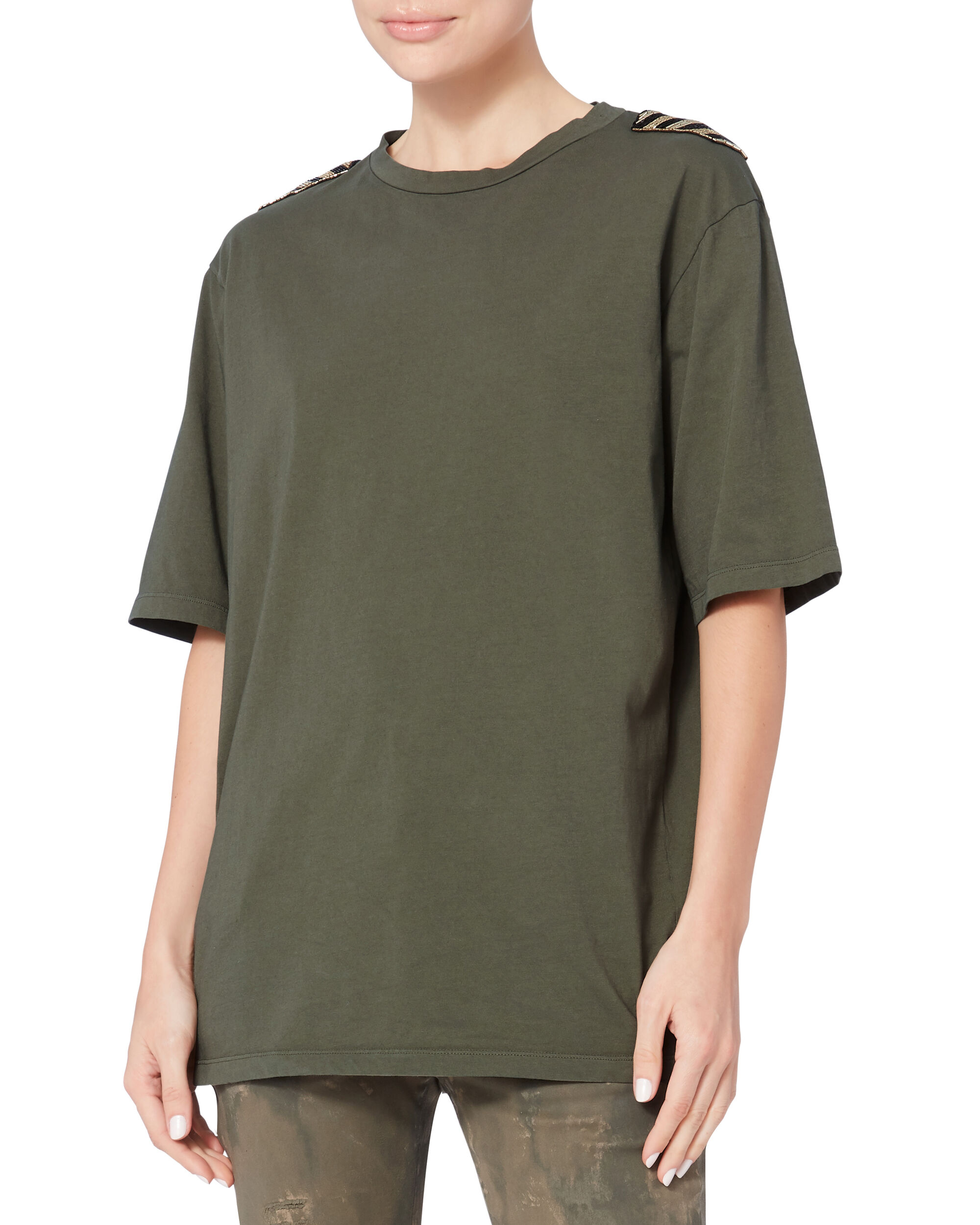 Beaded Accent Army Green T-Shirt, EMERALD, hi-res