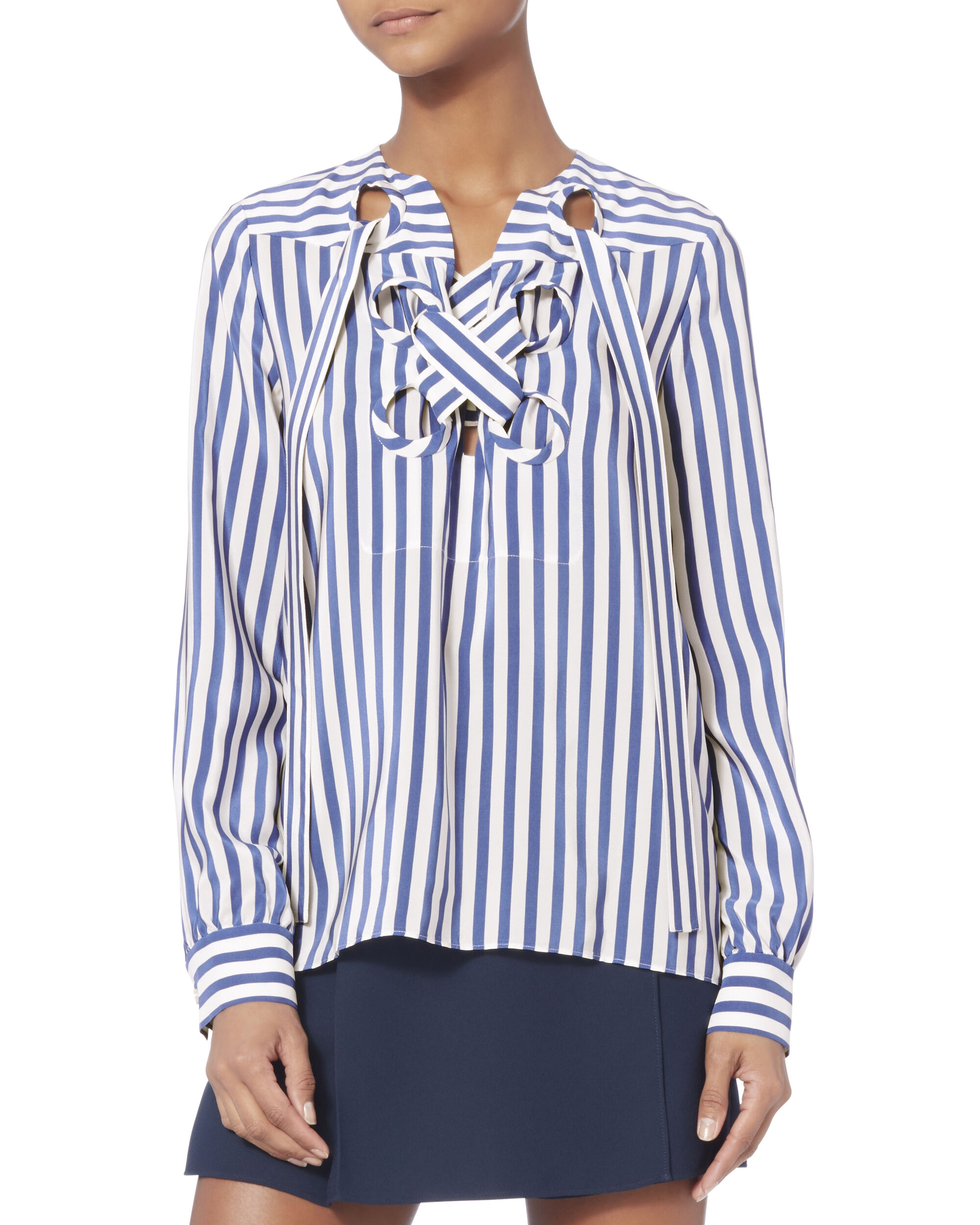 Striped Satin Lace-Up Blouse, STRIPE, hi-res