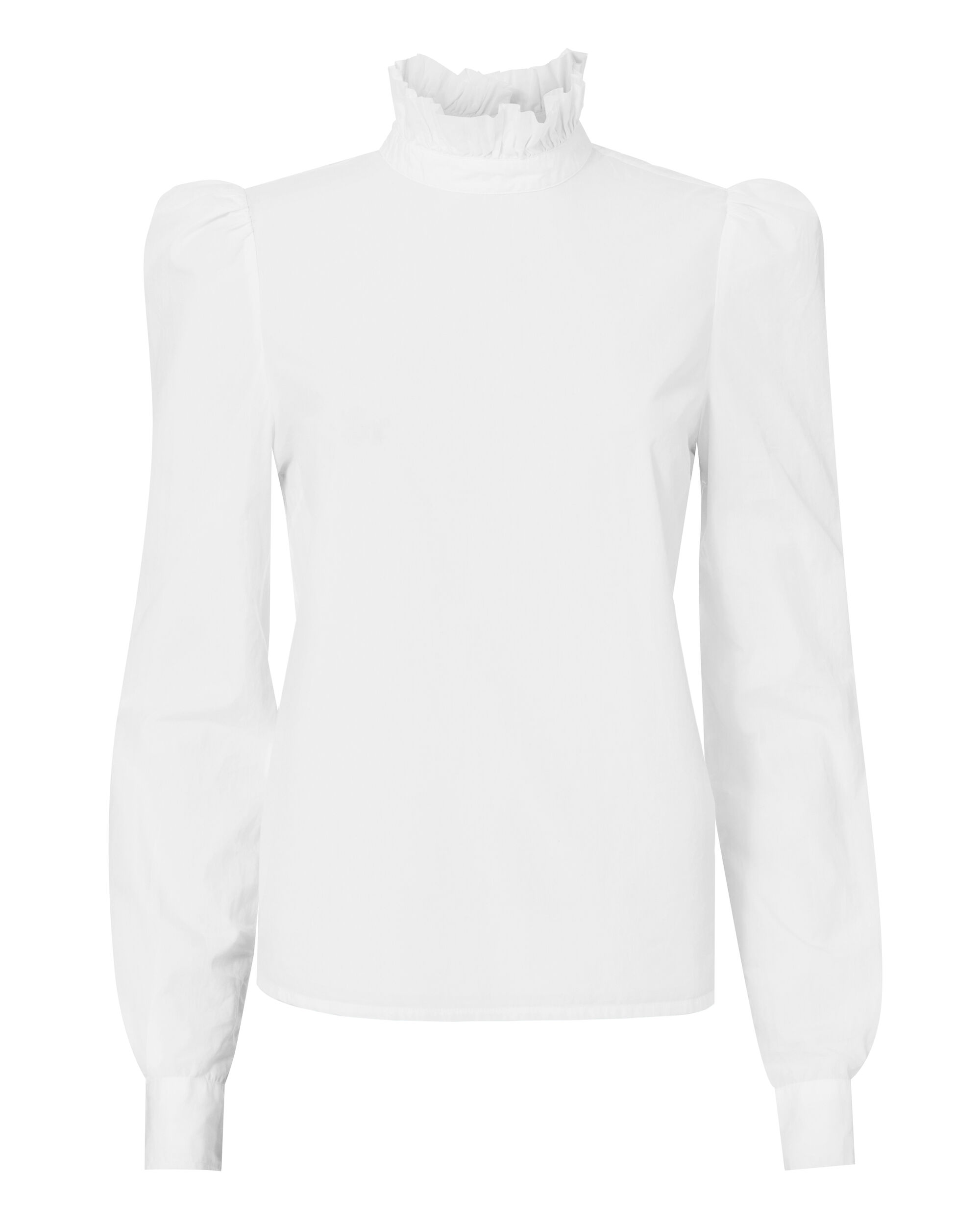 Ruffle Neck Poplin Shirt, WHITE, hi-res