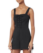 Jules Lace-Up Romper, BLACK, hi-res