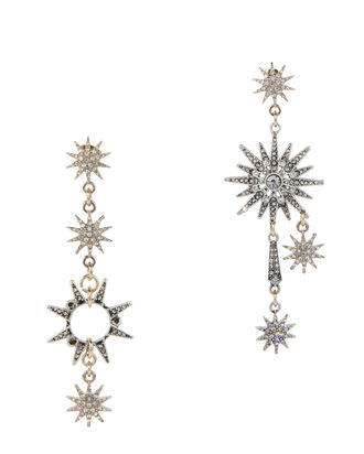 Asymmetrical Star Earrings, METALLIC, hi-res