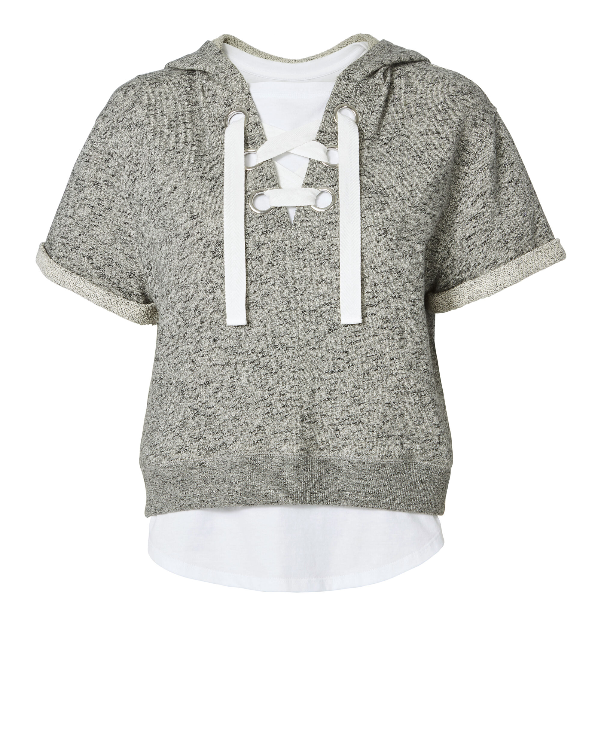 Lace-Up Hoodie And Tee, LT GREY, hi-res