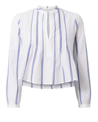 Sawyer Crop Stripe Woven Shirt, STRIPE, hi-res