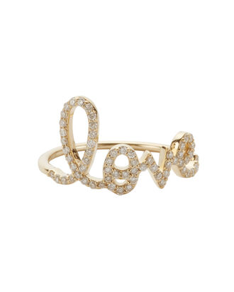 Love Script Diamond Ring, GOLD, hi-res